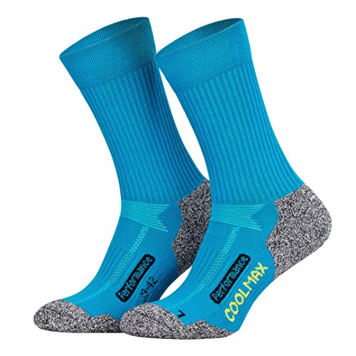 Piarini 2 Paar Coolmax Wandersocken Outdoorsocken Funktionssocken lang petrol 35-38