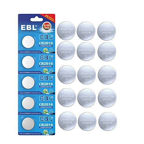 EBL Pack of 15 CR2016 Lithium Coin Cell 3V Watch/Electronic Batteries