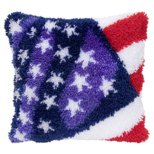 Beyond Your Thoughts Latch Hook Kits for DIY Throw Pillow Cover Sofa Cushion Cover Star Stripe with USA Flag Pattern Printed 16X16 inch, Crochet Needlework Crafts for Kids and Adults