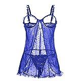 KELITCH Sexy Dessous Soft Chemise Erotische Dessous G-String Wimpern Blaue Lace Unterwäsche Nachthemd - Größe XXL