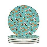 Facbalaign N Caffè sottobicchieri in ceramica con fondo in sughero antigraffio rotondo antiscivolo in vetro, 4 pezzi