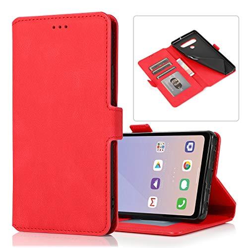 Snow Color LG Stylo 6 Hülle, Premium Leder Tasche Flip Wallet Case [Standfunktion] [Kartenfächern] PU-Leder Schutzhülle Brieftasche Handyhülle für LG Stylo6 - COKLT010546 Rot