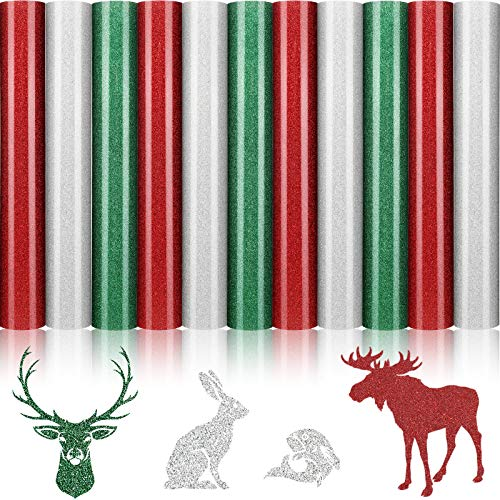 11 Sheets Christmas Heat Transfer Vinyl Glitter Heat Transfer Vinyl 3 Assorted HTV Iron on Vinyl Bundle for Fabrics T-Shirts, Christmas Clothes, 12 x 10 Inch, Red, Silver, Green
