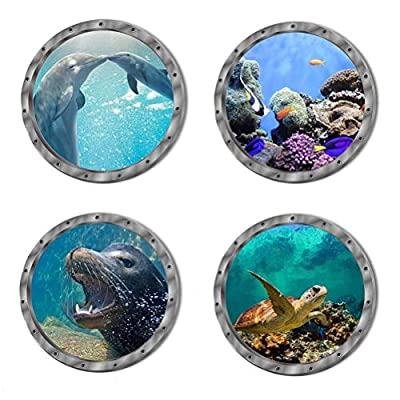 4 PCS Removable 3D Under The Sea Nature Scenery Wall Decals Animals Wall Sticker Home Wall Art Decor for Bathroom Bedroom Door Kids Baby Nursery Room Includ Sea Turtles Dolphins Sea Lions Coral