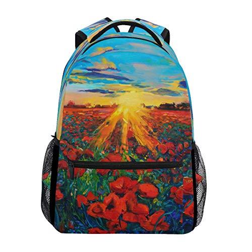 poiuytrew Sunset Poppy Flowers Mochila Bolsas de Hombro para Estudiantes Mochila de Viaje Mochilas Escolares