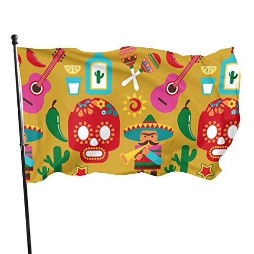 Viplili Banderas Seasonal Mexico-pattern-with-icons-vector-1009637 Garden Flag, Demonstration Flag - 3 X 5 Ft