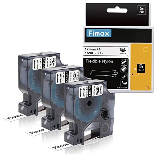 """Fimax Compatible Label Tape Replacement for Dymo 18488 1/2"""" Flexible Nylon Labels for DYMO Industrial RhinoPro Label Makers 4200, 5000, 5200, 6000, Black on White, 3 Rolls (12mm x 3.5m)"""