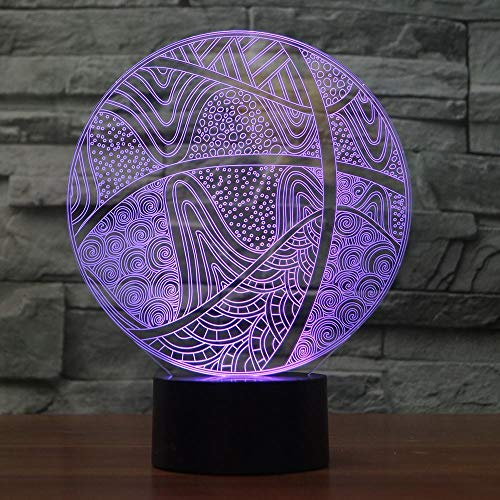 Luz nocturna 3D con diseño de balón de baloncesto, luz nocturna LED, 7 cambios de color, USB, lámpara de mesa de acrílico, lámpara para niños, regalo para niños