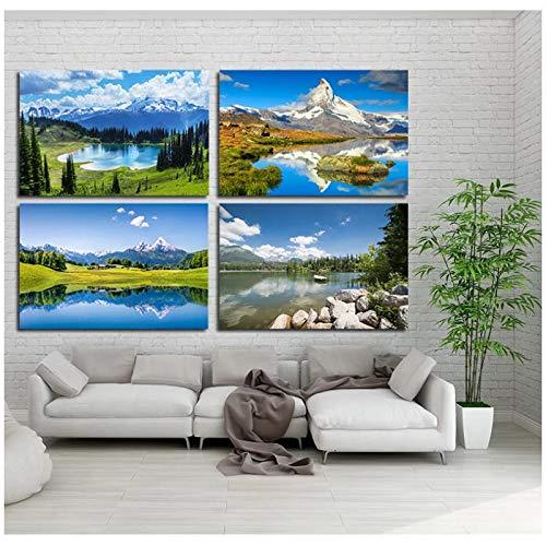 Paisaje natural Blue Sky Lake Mountain Prints Posters Pintura de pared Forest Tree Canvas Art Print Sala de estar Dormitorio Decoración para el hogar 16x24 pulgadas 4pcs Sin marco