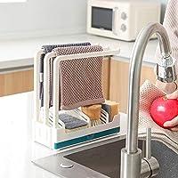 qisiewell organizer per lavello da cucina 3 supporti stabili per strofinacci da cucina contenitore per strofinacci, contenitore per spugna, supporto per strofinacci in plastica pp blu/bianco