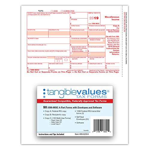 1099 Misc Tax Forms 2019 - Tangible Values 4-Part Kit with Envelopes - TPF Software Included, 50 Pack Photo #4