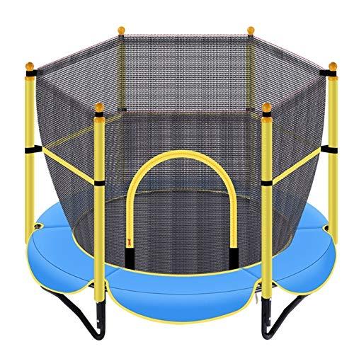 Trampolín trampolín para niños en interiores y exteriores, con recinto de seguridad para diversión, trampolín pequeño de 150 kg de carga máxima (color: azul)