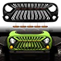SEVEN SPARTA Front Grill Compatible with Jeep Wrangler JK/JKU 2007-2017 Thunderfury Style with 5 LED Grille Lights, Strip, Clips and Rivets (Paintable Matte Black)