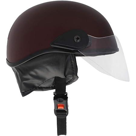 Western Era Unisex Half Helmet for Men & Women Clear Visor Comfort & Safety Enhanced Design, Color - Maroon Matte (Large)