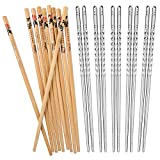 Hiware 10 Pairs Reusable Chopsticks Set Include 5 Pairs Metal Stainless Steel Spiral Chopsticks and 5 Pairs Natural Bamboo Chopsticks 8.8 Inches, Easy to Holds