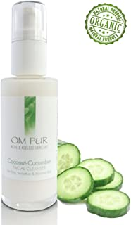 OM PUR Coconut Cucumber Facial Cleanser - Gentle Organic Daily Face Wash for Women and Men - Soothing, Calming, Anti Aging, Non Foaming, Pore Hydrating Cream for Dry, Normal, and Sensitive Skin