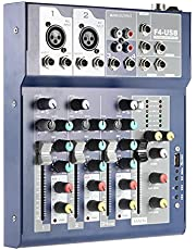 PA音響機器 ミキサー オーディオミキサー ミキシング コンソール パワード ミキサー,Mixing Console,F4 Professional Metal 4 Channel Live Mixer Mixing Console 3-Band EQ USB Function 48V Phanwith Bulit-in Effect Processor Mic Input