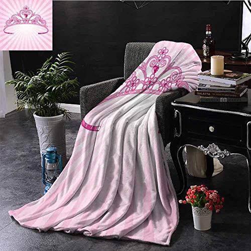 GGACEN bont gooien deken mooie roze fee prinses kostuum print kroon met diamant afbeelding kunst gewogen voor volwassenen kinderen, beter diepere slaap