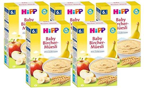 Hipp biologische ontbijtgranen goedemorgen pap Bircher muesli, 5-pack (5 x 250 g)