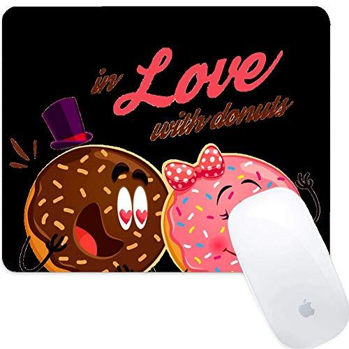 Mauspad f眉r Laptop Computer & PC, Matte Nat眉rliche rutschfeste Gummibasis Gaming Mauspad Drucken Design Niedliche Donuts Verliebt in Donut Kuchen S眉脽igkeiten Bonbon Keks Donuts Niedlich Sch枚nes D