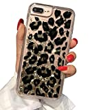 Losin Leopard Case Compatible with Apple iPhone 7 Plus / iPhone 8 Plus 5.5 Inch Ultra Thin Fashion Luxury Sparkling Liquid Quicksand Glitter Sequin Lovely Leopard Pattern Soft TPU + Hard PC Back Case