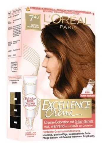 L'Oréal Paris Excellence Creme Coloration, 7,43 - Kupfergoldblond