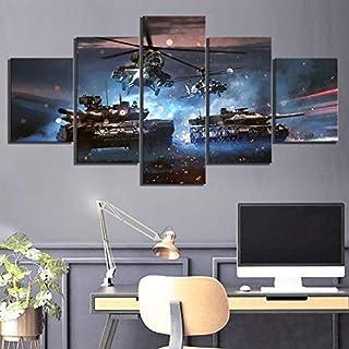Art-5 piezas de arte contemporáneo contemporáneo lienzo impresión obra de arte imagen HD campo de batalla videojuego póster pegatinas de pared avión y bronceado cuadros lienzo pintura sala de es