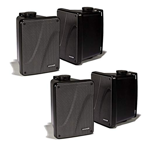 Kicker KB6000 2-Way Full Range High-efficiency Speaker System Indoor Speaker Outdoor Speaker Marine Speakers System | 6.5 inch woofer | 2x5 inch Horn Tweeter with Quick Mounting System - Set of 4