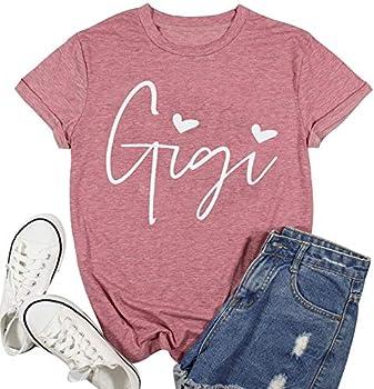 Plus Size Gigi Shirts Grandma Women Funny Heart Print Graphic Tshirts Mimi Short Sleeve Mother s Day Tops  Pink Medium
