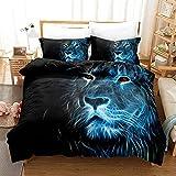 SLQL Juego de ropa de cama Anime Themed con diseño de cabeza de león azul, 3 piezas, juego 1 funda nórdica y 2 fundas de almohada de microfibra suave 135 x 200 cm