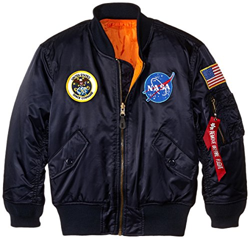 Alpha Industries Big Boys' Nasa MA-1 Bomber Jacket, Replica Blue, Small/8