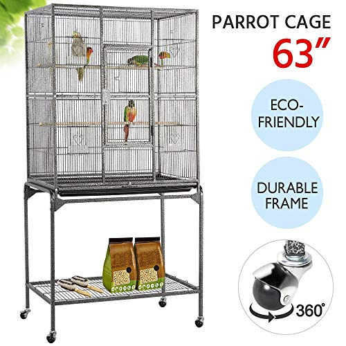 Yaheetech 63-Inch Wrought Iron Rolling Large Bird Cage for African Grey Small Quaker