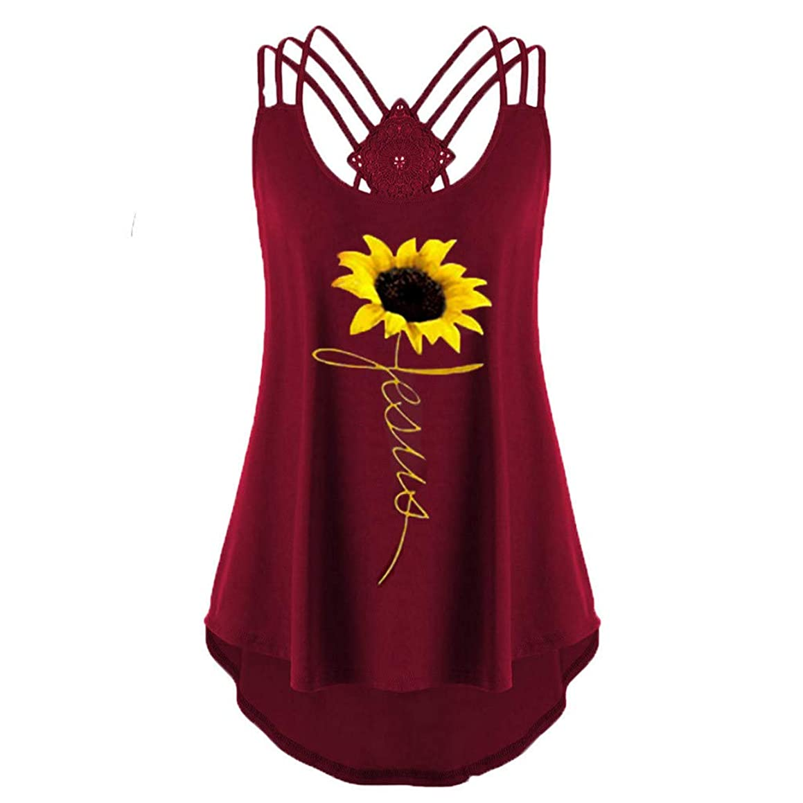 〓COOlCCI〓Womens Casual Sleeveless Sunflower Printed Criss Cross Tank Tops Halter Blouse Tops Vest Camisoles