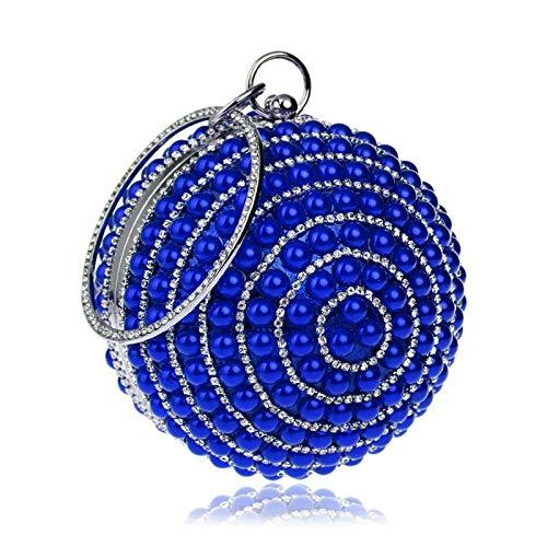 Sac À Main Femmes Pleine Perle Gland Sacs De Soirée Dames De Luxe Chaîne d'embrayage Sac À Main Fête De Mariage Sphérique Banquet Sac Bleu