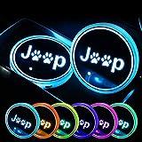 LED per portabicchieri auto Supporto per tazza a LED logo logo tazza portapada per J''e-E'p, 7 colori che cambiano USB tappetino da tazza da tazza luminescente (diametro 2,6 pollici) ( Color : A )