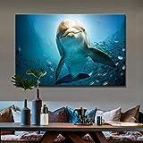 KWzEQ Paisaje Marino Pared Arte Lienzo Pintura Pared decoración Pared Lindo delfín para Sala Pared,Pintura sin Marco,75x112cm