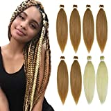 YMHPRIDE Pre Stretched Braiding Hair 26 Inch 8 Packs Soft Yaki Texture Braiding Hair Itch Free Hot Water Setting Synthetic Fiber Crochet Braids Twist Hair Extension for Women(6PCS 27#+2PCS 613#)…