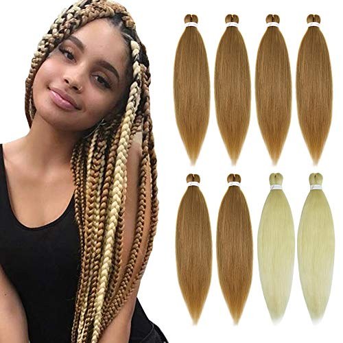 YMHPRIDE Pre Stretched Braiding Hair 26 Inch 8 Packs Soft Yaki Texture Braiding Hair Itch Free Hot Water Setting Synthetic Fiber Crochet Braids Twist Hair Extension for Women(6PCS 27#+2PCS 613#)