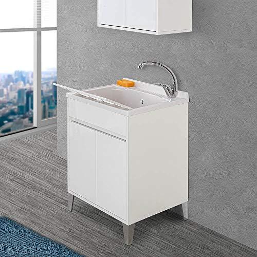 Mobile lavanderia con lavatoio in Resina linea Way, L.59,3xP.49,8xH.85,5 cm, 3 colorazioni disponibili, INCLUDE asse lavapanni e kit sifone+piletta (Bianco lucido)