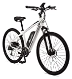 Schwinn Voyageur Electric Bike, Hub-Drive, Large Step-Through Frame, White