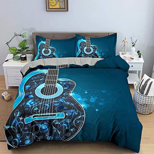 HGFHGD 3D-Bettwäsche-Set für Erwachsene und Kinder, Musikgitarre, Blau