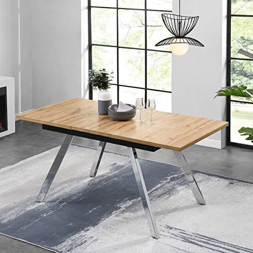 B&D home Esstisch ausziehbar, Ausziehtisch, Esszimmertisch, Küchentisch, Speisentisch, in Optik Eiche, mit verchromten Beinen, 120-160 x 80 cm