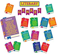 Includes die-cut books covering (15) literary genres, (1) die-cut genre definition book, (7) header pieces, and (1) teacher's resource guide. Packaged as (5) 17'' x 24'' panels. Educational and fun, this set of classroom decorations is a wonderful wa...