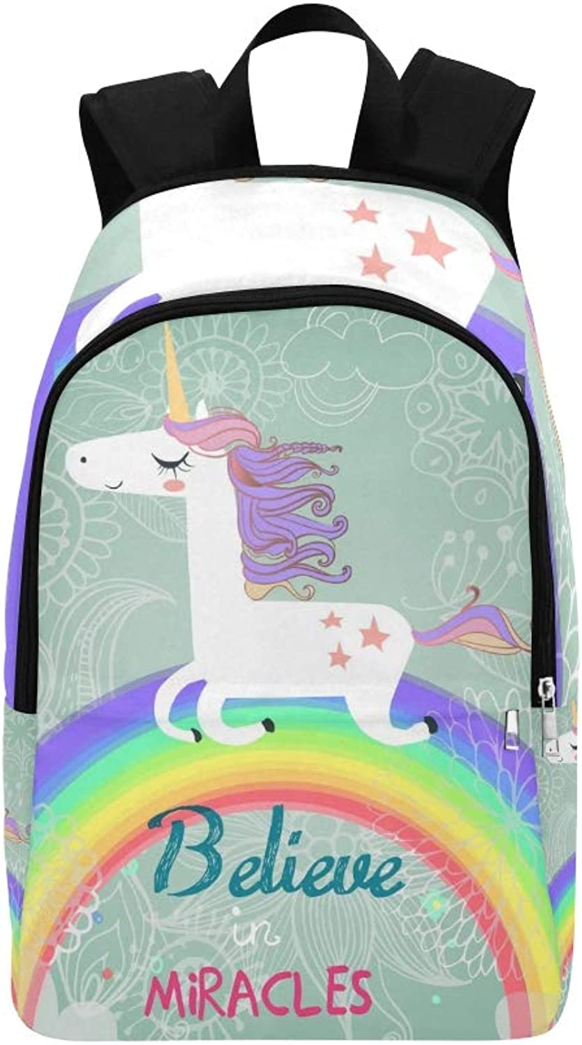 Cute Unicorn Rainbow Casual Daypack Travel Bag College School Backpack for Mens and Women