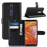Lapinette Hülle Kompatibel mit Nokia 3.1 Plus - Schutzhülle Klappbar Stoßfeste Folio - Lederhülle Nokia 3.1 Plus - Wallet Kartenfächer Standfunktion Magnet Schwarz