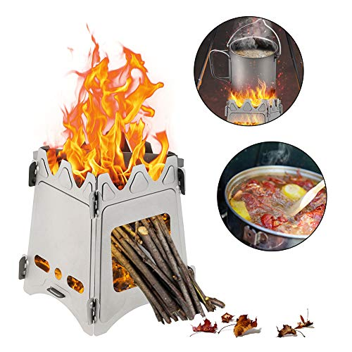 Gulrear Ultralight Camping Stove Folding Weighs 7.3 OZ 100% Pure Titanium Wood Burning Camping Stove Portable & Foldable For Camping Backpacking Hiking And Bushcraft Survival Stronger Lighter VS Steel