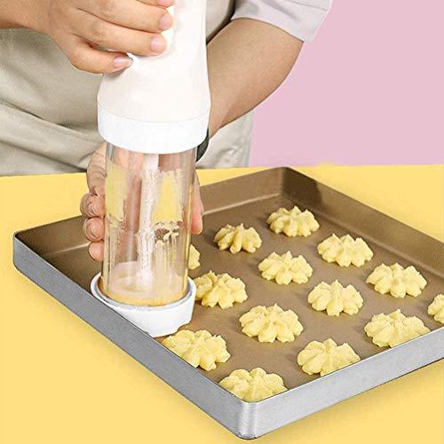 KENANLAN Gebäckpresse, Elektrisch Plätzchenpresse Garnierspritze Gebäckspritze Kekshersteller Keksmaschine Kekspresse DIY Backzubehör Garnierspritze mit 12 Schablonen und 4 Tüllen für Kuchen Kekse