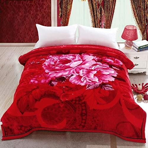 QXHELI Rode Roos bloem patroon van de herfst & winter warmte onder onzichtbare student onzichtbaar (220 * 240cm hak de Raschel winter).