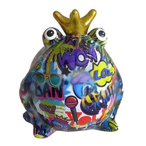 Pomme Pidou Spardose Frosch Froschkönig Graffiti lila 15x17 Sparbüchse Geldgeschenk