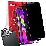 BANNIO Protector Pantalla Antiespias Compatible con iPhone 13 Mini(5.4'),[2+2 Unidades] Cobertura Completa Privacidad...